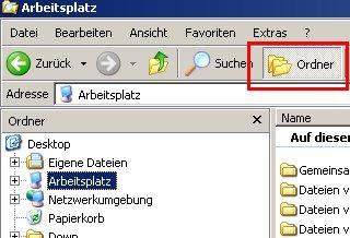 Windows Explorer - Benutzerkonto / Benutzerkonten Profilordner anzeigen  - Klick auf Ordner, , um die zweigeteilte Fensteransicht des Explorers zu aktivieren