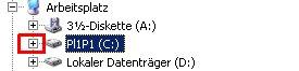Windows Explorer - Benutzerkonto / Benutzerkonten Profilordner anzeigen - Ordnerstruktur Partition C: öffnen