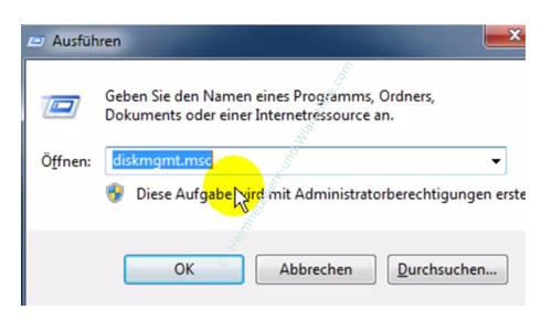Datenträger von FAT 32 in das NTFS Format formatieren – Die Datenträgerverwaltung diskmgmt.msc aufrufen