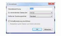 Datenträger von FAT 32 in das NTFS Format formatieren – Dialogfeld für die Auswahl der Formatierung