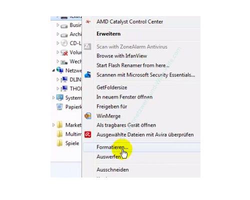 Datenträger von FAT 32 in das NTFS Format formatieren – Datenträgerformatierung über das Kontextmenü des Windows Explorers