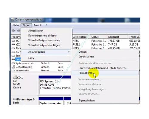 Datenträger von FAT 32 in das NTFS Format formatieren – Der Menübefehl Aktion – Alle Aufgaben - Formatieren