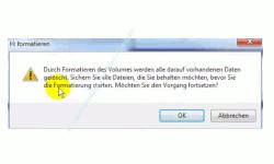 Datenträger von FAT 32 in das NTFS Format formatieren – Warnhinweis über das Löschen vorhandener Daten beim Formatieren