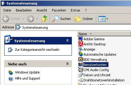 Schritt für Schritt Anleitung: Windows Benutzerpasswort Passwort ändern - Fenster Systemsteuerung Modul Benutzerkonten markieren und doppelklicken