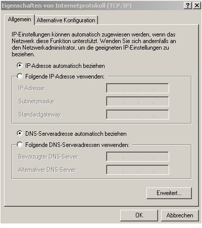 internet connection sharing - Client-PC Konfiguration - TCP-IP Einstellung per DHCP