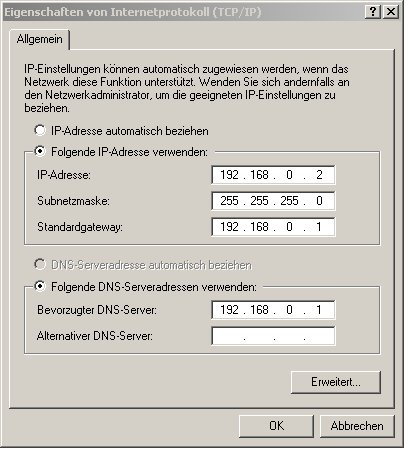 internet connection sharing - Client-PC Konfiguration - manuelle TCP-IP Einstellung