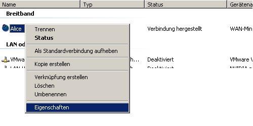 Internet Connection Sharing  (ICS)- Host Computer einrichten - Fenster Netzwerkverbindungen Internet Eigenschaften
