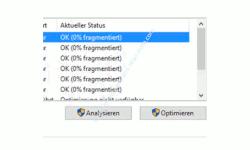Schneller Festplatte durch Defragmentierung – Aktuellen Defragmentierungsstatus der Partitionen der Disk anzeigen