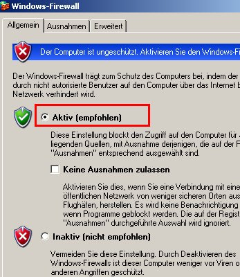 Windows Tutorial: Die Windows Firewall aktivieren oder deaktivieren! Windows Firewall - Auswahl Button Aktiv