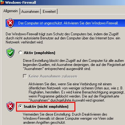 Windows Tutorial: Die Windows Firewall aktivieren oder deaktivieren! Windows Firewall - Auswahl Button Inaktiv