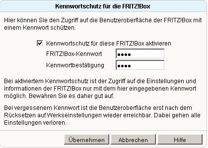 Heimnetzwerk-Tutorial: Wlan-Konfiguration Router-Passwort / Router-Kennwort ändern! Fritzbox Konfigurationsmenü - Menü System FritzBox Kennwort wählen - Fenster Kennwortschutz