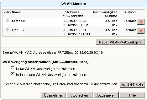 Wlan-Netzwerk Tutorial: Menü Einstellungen WLAN Monitor-Fenster
