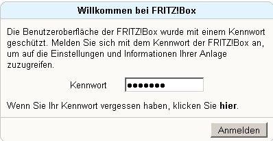 Netzwerk-Tutorial: Auf die Router-Konfiguration zugreifen!  FritzBox Logon Screen