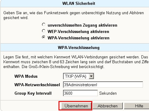 Netzwerk Tutorial: Die WLAN-Konfiguration eines Fritzbox Wlan-Routers ausdrucken! Fritzbox Konfigurationsmenü - Menü Einstellungen WLAN Sicherheit Button Übernehmen