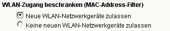 Wlan-Netzwerk Tutorial: Menü Einstellungen WLAN - Keine neuen WLAN-Netzwerkgeräte zulassen