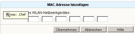 Wlan-Netzwerk Tutorial: Menü Einstellungen WLAN -MAC-Adresse hinzufügen