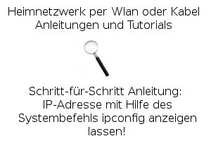 IP-Adresse mit Hilfe des Systembefehls ipconfig anzeigen lassen