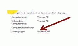 Anzeige Arbeitsgruppenname und Computername in der System-Übersicht