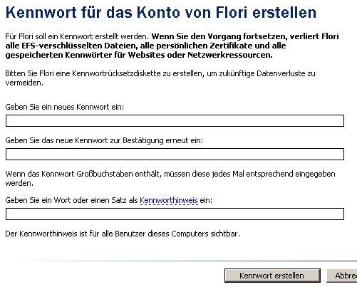 Schritt für Schritt Anleitung: Windows Benutzerpasswort Passwort ändern - Fenster Benutzerkonten - neues Kennwort eingeben