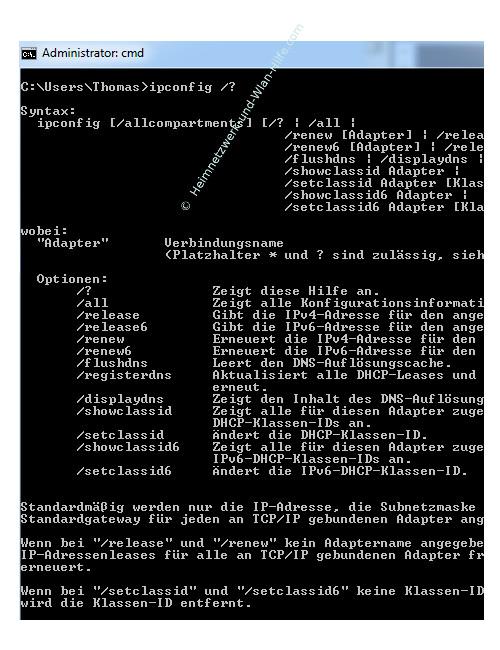 Der Netzwerkbefehl ipconfig – Kommandozeile, ipconfig – alle Optionen anzeigen lassen /?