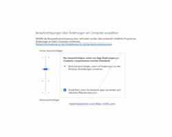 Windows 10 Tutorial - Nervige Sicherheitsabfragen der Benutzerkontensteuerung abschalten - Konfigurationsfenster Benachrichtigungen über Änderungen am Computer auswählen