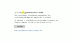 Windows 10 Tutorial - Den Schutz vor unerwünschten Anwendungen ( PUA - Potentially Unwanted Applications) aktivieren! - Konfiguration App- & Browsersteuerung – Bereich Zuverlässigkeitsbasierter Schutz