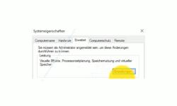 Windows 10 Tutorial - Die Auslagerungsdatei pagefile.sys für ein schnelleres System verschieben! - Konfigurationsfenster Systemeigenschaften Register Erweitert Bereich Leistung