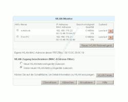 Wlan-Netzwerk Tutorial: Mac-Filter konfigurieren Menü Einstellungen WLAN Monitor-Fenster