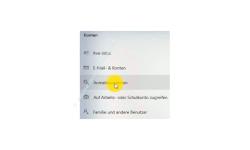 Windows 10 Tutorial - Den Sperrbildschirm (Home oder Professional) deaktivieren - Menüpunkt Anmeldeoptionen im Konfigurationsfenster Konten