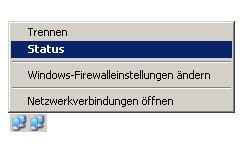 internet connection sharing - Netzwerksymbol - Kontext - Status