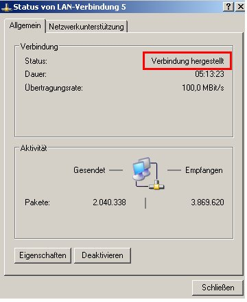 internet connection sharing - Netzwerksymbol  - Kontext - Statusanzeige