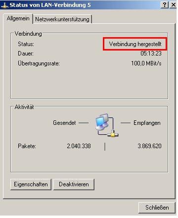 internet connection sharing - Netzwerksymbol  - Kontext - Statusanzeige
