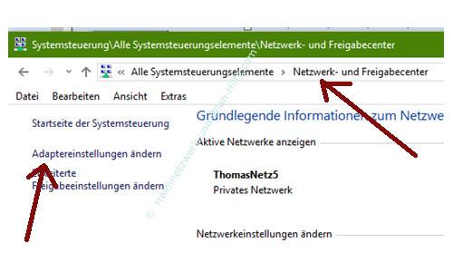 Zwischen verschiedenen Netzwerkeinstellungen wechseln – Netzwerk- und Freigabecenter, Adaptereinstellungen ändern