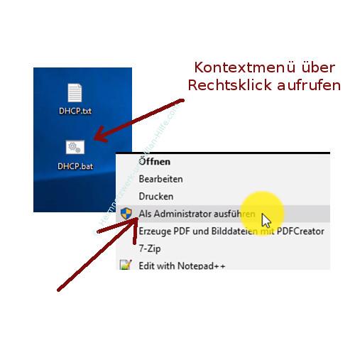 Zwischen verschiedenen Netzwerkeinstellungen wechseln – Batch-Datei als Administrator aufrufen