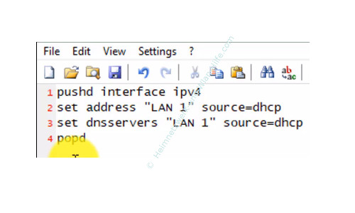 Zwischen verschiedenen Netzwerkeinstellungen wechseln – Textdatei mit Netzwerkeinstellungen für DHCP