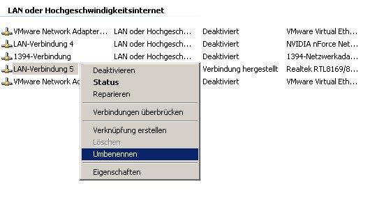 Netzwerk-Tutorial: Netzwerkverbindung anzeigen, umbenennen, aktivieren oder deaktivieren – Namen ändern