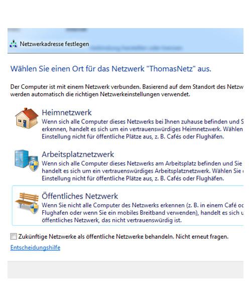 Öffentliches Netzwerk unter Windows 7 einstellen