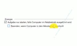 Windows 10 Tutorial - Eine automatische Sicherung der kompletten Registrierungsdatenbank konfigurieren! - Die Option Aufgabe nur starten, falls Computer im Netzbetrieb ausgeführt wird und Beenden, wenn Computer in den Akkubetrieb wechselt