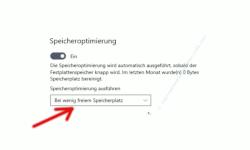 Windows 10 Tutorial - Nicht notwendige Dateien mit einer integrierten Funktion automatisch löschen! - Option Speicherplatzoptimierung ausführen, die bestimmte, wann die Optimierung des Speicherplatzes stattfinden soll