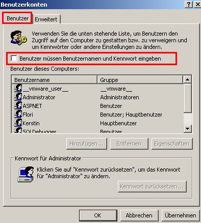 Anleitung Windows XP -  Automatische Benutzeranmeldung deaktivieren - Register Benutzer - Benutzer müssen Benutzernamen und Kennwort eingeben