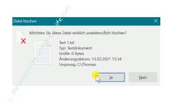 Windows 10 Tutorial - Dateien sicher und nicht wiederherstellbar mit Windows-Tool löschen - Papierkorb Warnhinweis – Möchten Sie diese Datei wirklich unwiderruflich löschen
