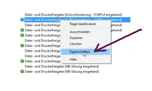 Ping-Anfragen in der Windows Firewall zulassen – Das Konfigurationsfenster der eingehenden Regel Datei- und Druckerfreigabe Echoanforderung icmpv4 aufrufen