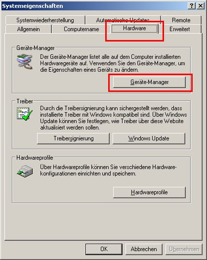 Windows XP Gerätemanager - Netzwerkkarte installieren - Netzwerkkarteninstallation prüfen - Fenster Systemsteuerung - Register Hardware - Button Geräte-Manager
