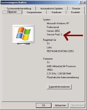 Installiertes Service Pack unter Windows anzeigen lassen! System - Register Allgemein - Anzeige des installierten Service Packs