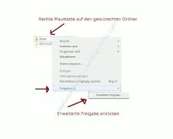 Heimnetzwerk Tutorial: Sichere Windows-Freigaben verwenden - Windows 7 Ordner Kontextmenü - Erweiterte Freigabe eines Ordners