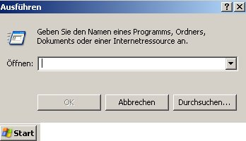Anleitung: Windows Benutzerkonto löschen unter Windows XP Vista - Start Ausführen - Fenster Ausführen mit Eingabefeld