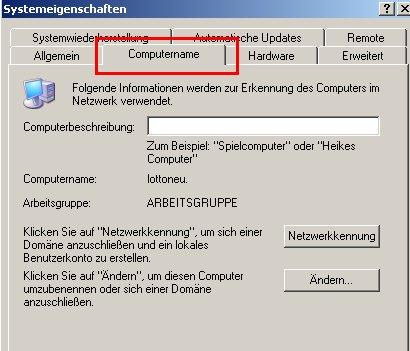 Fenster Systemsteuerung Register Computername
