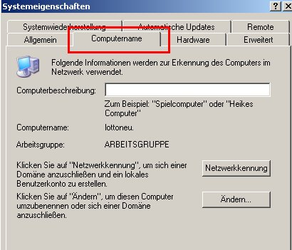 Windows XP Gerätemanager - Computernamen ändern -  Register Computername