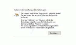 Windows 10 Tutorial - Systemwiederherstellungspunkte löschen – Systemwiederherstellung und Schattenkopien Button Bereinigen