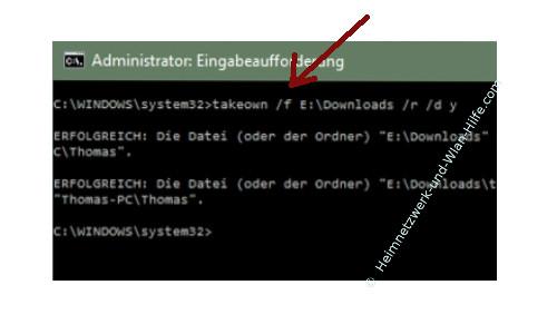Ordner- und Dateiberechtigungen mit Takeown und Icacls ändern – Befehlsbeispiel für die Besitzübernahme eines Ordners durch den Befehl Takeown /f D:/Downloads /r /d y